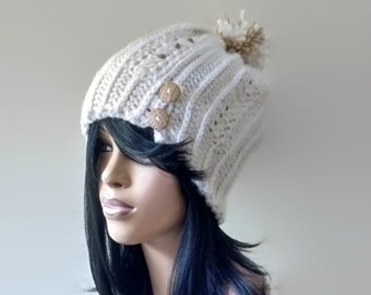 Instant Download Knit Look Crochet Chunky Beanie with pom pom /Easy and Quick/ Photos included to help along the way/