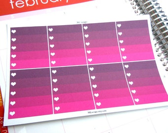 Black Raspberry Ombre Heart Checklists-Set of 8