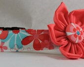 Dog Collar with Flower - Nearby Floral Aqua - All Sizes