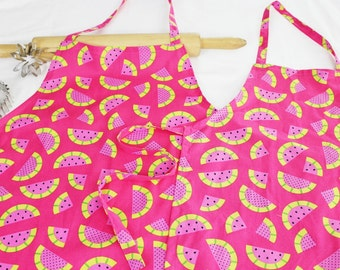 Hot Pink Watermelon Mother Daughter Aprons