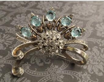 ON SALE Antique Trifari Sterling Silver Brooch Light Blue Rhinestones Art Deco Pin