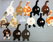 Choose your set! Crochet Cotton Cat Butt Coasters Cat Lady Humor kitty clowder many colors gray black white orange brown