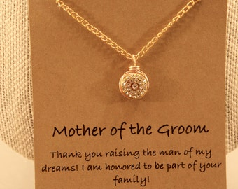Mother of The Groom Necklace: Wire Wrapped Rhinestone Pendant, Mother of The Groom, Wish Necklace, Bridal Party, Wedding Jewelry