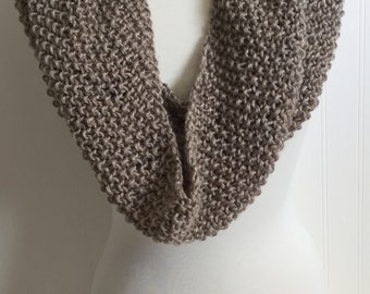 Hand Knitted Cowl Scarf Infinity Taupe