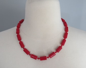Vintage 1960's Mod Red Plastic Beaded Necklace