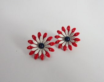 Vintage Red White And Blue Mod Flower Clip-on Earrings Enameled