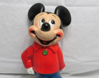 Vintage 1970s DISNEY Playpal Plastic Mickey Mouse Piggy Bank      Box X