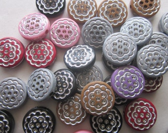 Multi Color Coin Acrylic Beads 16mm 10 Beads