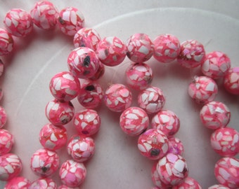 Pink and White Magnesite and Resin Beads 10mm 18 Beads