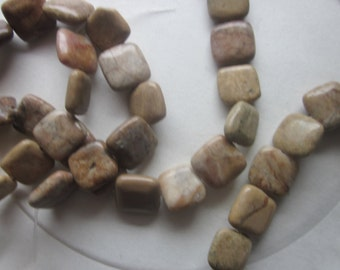 Tan Marble Square Beads 14x14mm 14 Beads