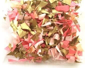 1 overflowing handful of hand cut confetti, gold, light pink, blush, peach, coral confetti, table decor, tissue paper confetti