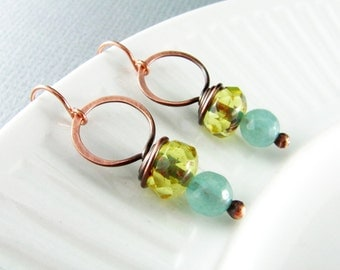 Wire Wrapped Earrings Citrine Yellow and Aquamarine Earrings Copper Earrings Wire Wrapped Jewelry Copper Wire