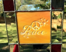 Contemporary Stained Glass Panel - Sandblasted Peace Sign (PLG037)