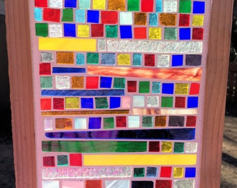 Contemporary Stained Glass Mosaic Panel - Abstract (PLG050)
