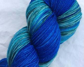 New lines - ColorPlay and Yarn Pairings, Hand-dyed Hand-Painted, Blue, Turquoise, Teal, 70/25/5 SW Merino Silk Stellina, 462 total yds, DK