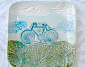 Bicycle dish, bike plate,  ring dish holder, blue green, ceramic ring dish, cycling, ceramic dish, spoon rest, jewelry dish, teabag holder