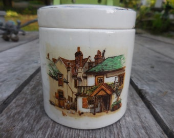 "Vintage 1930s to 1940s Ceramic ""Oxford"" Marmalade Frank Cooper Oxford England Ceramic Jar Village Scene Hanley Staffordshire Not Perfect"