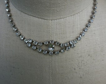 Vintage 1950s to 1960s Silver Tone Pronged Rhinestone Necklace Adjustable Clear Wedding Bridal