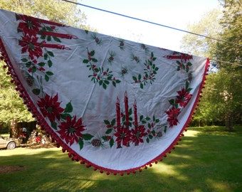Vintage White/Red/Green Round Tablecloth Candlesticks/Poinsettias/Pinecones/Holly/Berries Fuzzy Ball Fringe Cotton 1950s to 1960s Retro