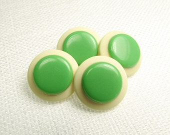 "With a Green Dot: 5/8"" (15mm) Off-White and Spring Green Buttons - Set of 4 New / Unused Matching Vintage Buttons"