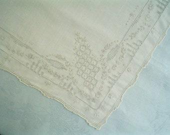Amazing Hankie with Elaborate Hemstitching White Linen Vintage Handkerchief