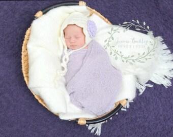 Vintage Inspired Crochet Pixie Bonnet for Newborn Baby Girl, Photography Prop, Baby Shower Gift