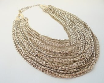 Vintage *STUNNING* Collar BIB Necklace Signed FRANCOIS 170 Grams Large Gold Plated Tone Chunky Retro Art Deco Statement Runway
