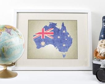 Australia Map Art Print, Australia Map Print, Australian Flag Art Print, Australia Print, Map Art Print, Australian Flag, Map of Australia
