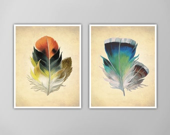 Feather Print Set, Two Feather Art Prints, Two Feather Art Prints, Nature Inspired Art Print, Nature Art Feather Prints, Two Piece Print Set