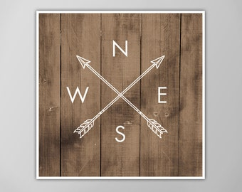 Compass Arrows Art Print, North South East West, Compass Directions Arrows, Home Decor Wall Art, Faux Wood Wooden Background, Compass Rose