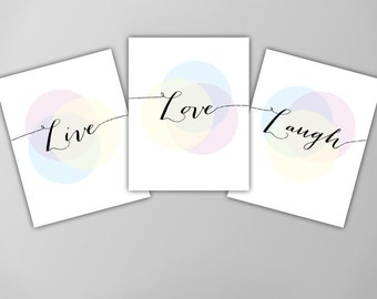 Live Love Laugh Three Print Set, Inspirational Quote Wall Decor, Motivational Quote, Typographic Art Print, Live Laugh Love Art Print Set
