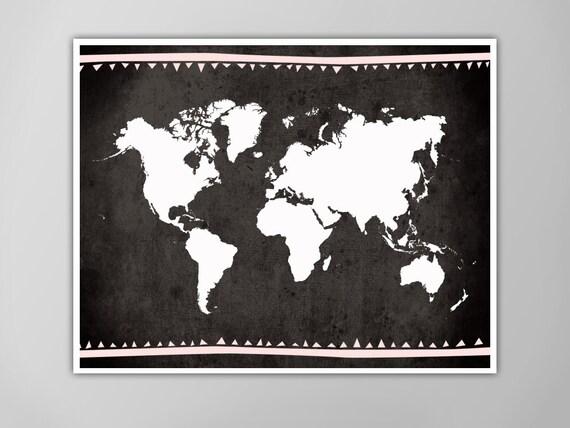 Monde carte affiche noir et blanc Tribal par theNATIONALanthem