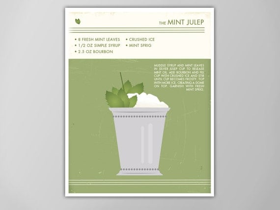 Mint Julep Art Print Retro Food and Drink by theNATIONALanthem