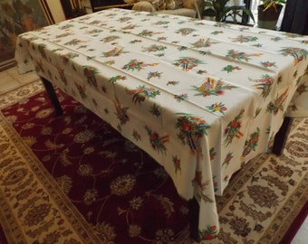 """Sale Huge large Christmas tablecloth , 95"""" x 58""""   Banquet. Holiday. Gift. Beautiful. New old stock. New Year.Wedding.RARE"""