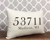 Personalized Zip Code Pillow, Custom Zip Code City & State, Housewarming Gift, Personalized Pillow, Gift For New Home, Home Decor Pillow