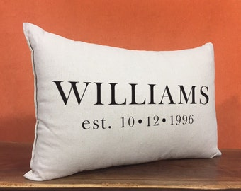 Personalized Pillow, Family Name and Established Date, Wedding Gift, Anniversary Gift, Personalized Gift, Wedding Pillow