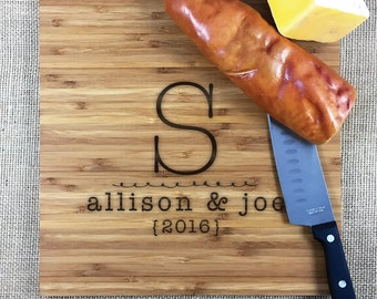 Personalized Bamboo Cutting Board, Monogram, Names And Date, Wedding Or Anniversary Personalized Cutting Board, Personalized Gift