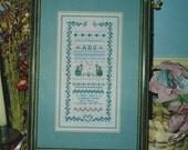 80s Forget Me Not Cross Stitch Sampler Kit by Shepherds Bush Tina Richards Hand Dyed Linen, Floss, Chart Complete Kit