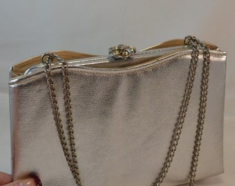 Vintage Harry Levine USA Silver Evening Handbag Chain Handle Shiny Silver Purse Wedding, Evening, Birthday Gift or Special for Her