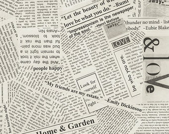 Newsprint in Spackle Story Fabric by Carrie Bloomston for Windham Fabrics