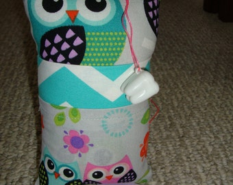 Tooth Fairy Pillow with tooth holder: Teal Owls
