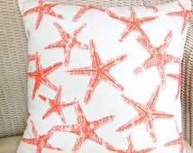 Coral Beach Throw Pillow Cushion COVER Decorative Pillow Coral/Salmon Starfish Nautical Couch Sofa Pillow Bedding ALL SIZES Cottage Decor