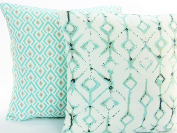 Spa Blue Tan Decorative Throw Pillow Cover ALL SIZES Couch