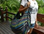 Hand Woven Thai Cotton Bad Shoulder Bag Backpack Crossbody Messenger Purse Hmong School Bag Ikat IK9