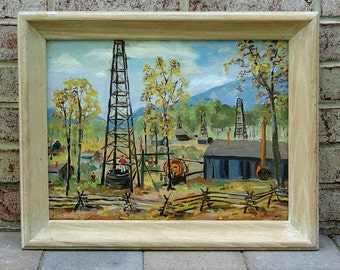 Mid Century 1954 Abstract Landscape Painting of Sherman Well in Oil Creek Valley, Pennsylvania - Beautiful!!