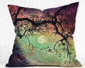 Decorative Throw Pillow. Stars & Moon. Night Sky. Aurora. Colorful Home Decor. Sunset. Purple. Green. Blue. Living Room. Girly. Dorm Decor.
