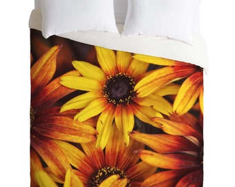 Duvet Cover. Bedding.  Bedroom Decor. Floral Bedding. Flowers. Orange and Yellow Home. Spring. Photography. Summer. Bright. Orange flowers