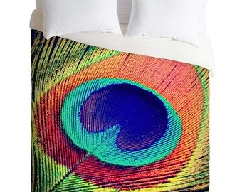 Duvet Cover. Bedding.  Bedroom Decor. Peacock Feather. Peacock Home. Bright. Colorful. Orange. Teal. Green. Macro. Bird.
