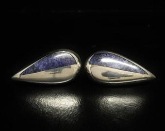"""Taxco Lapis Earrings Vintage Sterling Large Stud Backings ca 1980s 1.55"""" Long"""