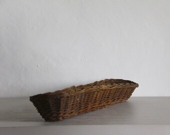 French Vintage Baguette Basket, Long Bread Basket.  Rustic French Country Farmhouse Kitchen